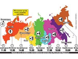 Карта часовых зон. Изображение с сайта kp.ru