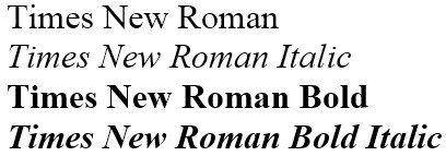 Четыре начертания шрифта Таймс Нью Роман
