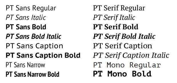 Шрифты ПТ Санс, ПТ Сериф и ПТ Моно