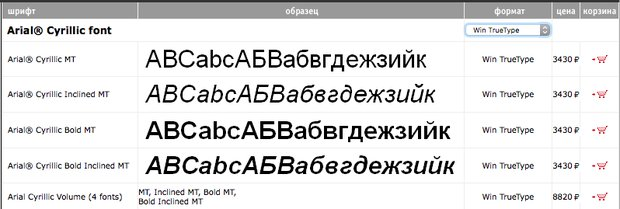 Ариал в магазине «Паратайпа» paratype.ru/pstore/default.asp?fcode=2751&letter=A&SRC=LT
