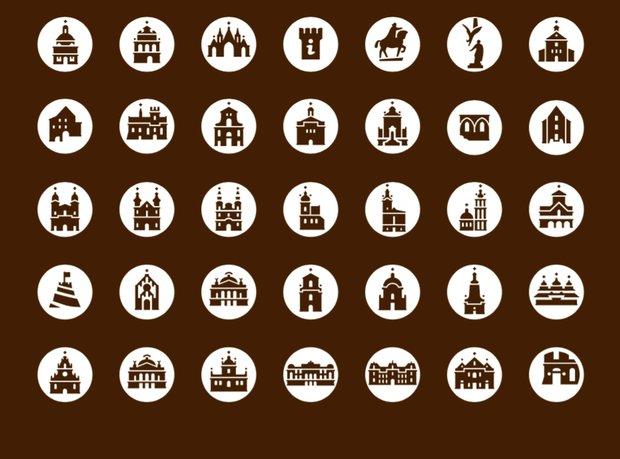 Комплект пиктограмм сдостопримечательностями (иллюстрацияссайтаtouristinfo.lviv.ua)