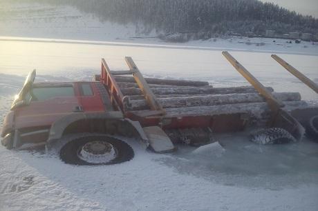 Ниссан провалился под лёд уострова Хунык наБайкале