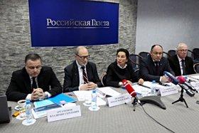 На пресс-конференции. Фото пресс-службы МЧС России