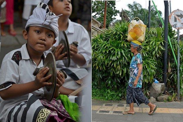 Слева: уличный обряд/ Справа: почти все женщины умеют носить тяжелые корзины и сумки на голове