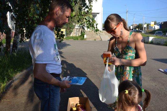На акции по сбору ламп. Фото ИА «Иркутск онлайн»