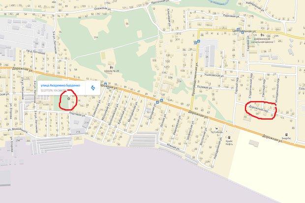 Улица Академика Бурденко и переулок Дорожный на Яндекс.Картах