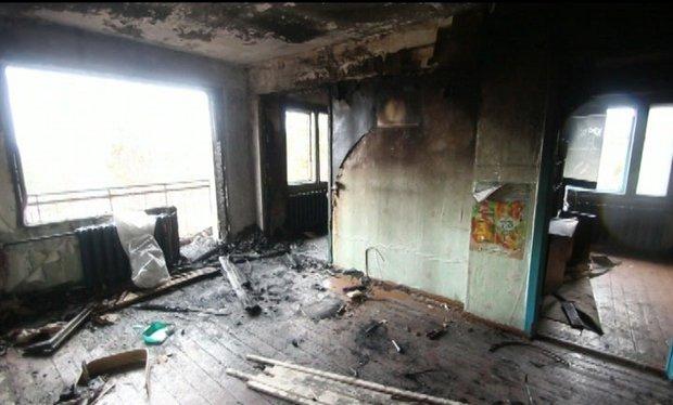 """Сгоревшая квартира. Изображение """"Вести-Иркутск"""""""