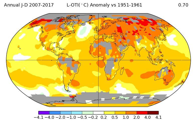 Температурные отклонения 2010-х в сравнении с 1950-ми: весь год.