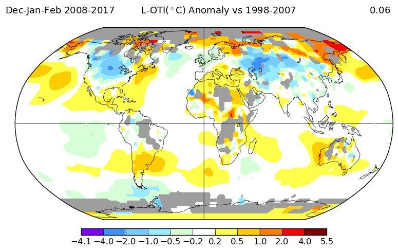 Температурные отклонения 2010-х в сравнении с 2000-ми: зима