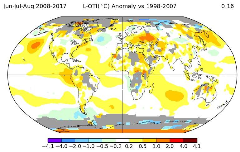 Температурные отклонения 2010-х в сравнении с 2000-ми: лето