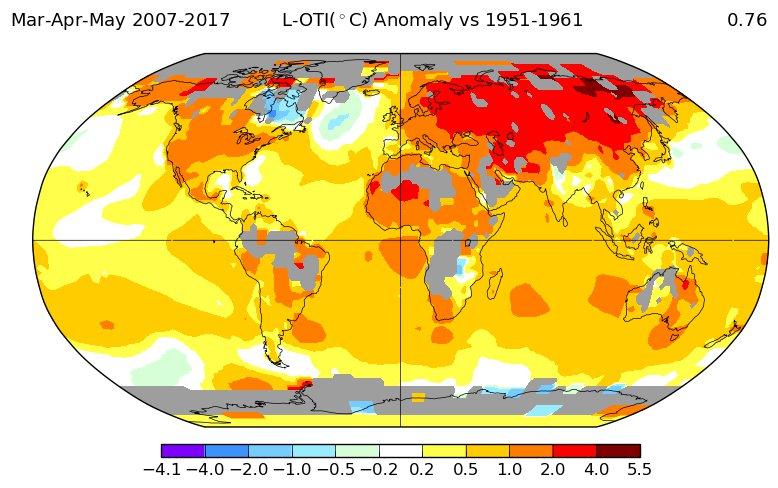 Температурные отклонения 2010-х в сравнении с 1950-ми: весна.