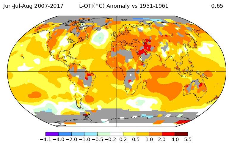 Температурные отклонения 2010-х в сравнении с 1950-ми: лето.