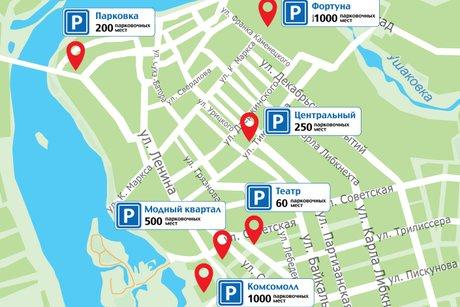 План размещения парковок предоставлен мэрией Иркутска