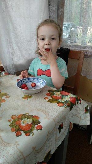 Вот как я ягодку кушаю!