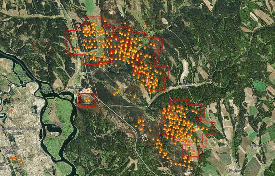 Пожары в районе Тихоновой Пади, Иркутский район. Фрагмент карты с сайта www.fires.ru