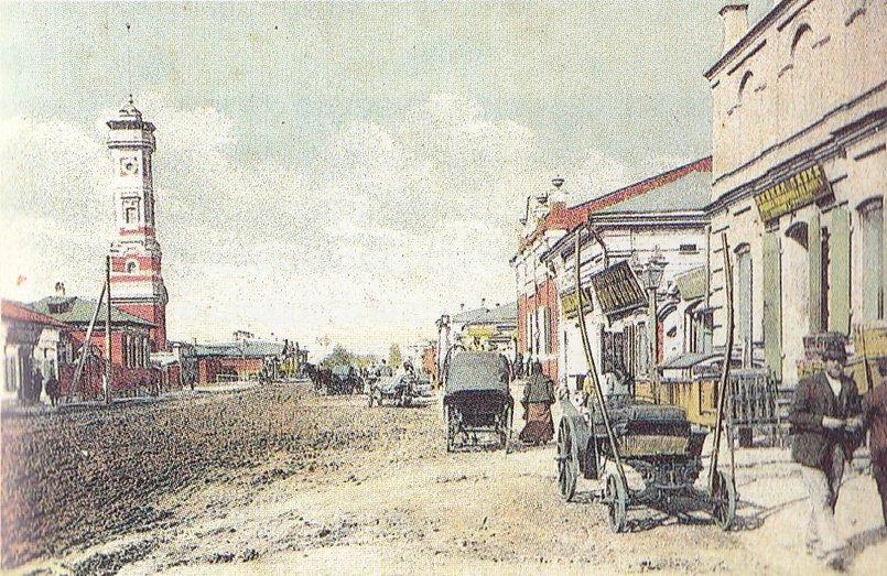 Вид на каланчу с улицы Преображенской (ныне Тимирязева), 1906. Автор: А.Д. Ермаков, из архива Иркипедии