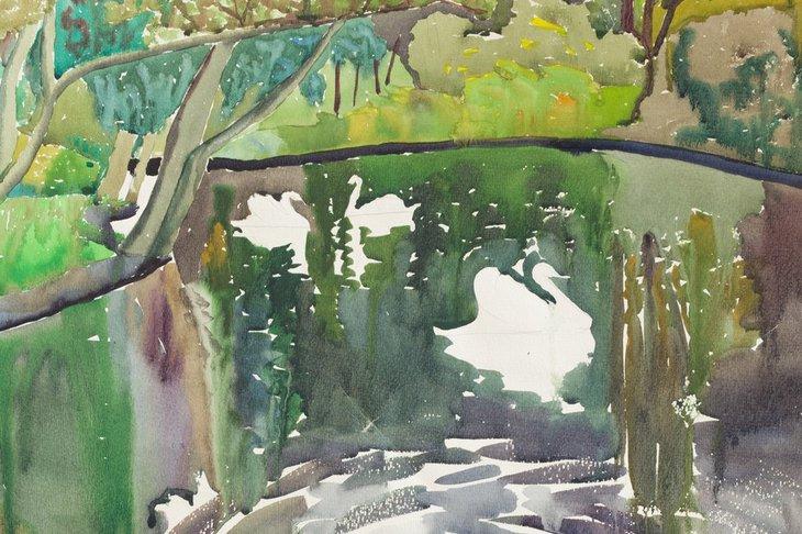 «Лебеди в парке», 1978 год. Автор — Галина Курочкина-Домашенко