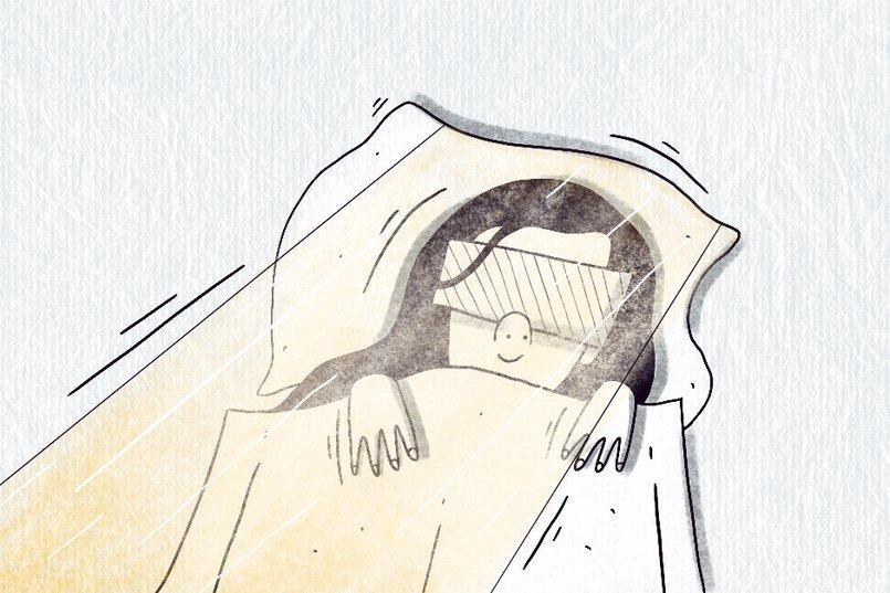 Иногда мы использовали полотенца как маску для сна: сворачивали их в несколько раз и клали на глаза.