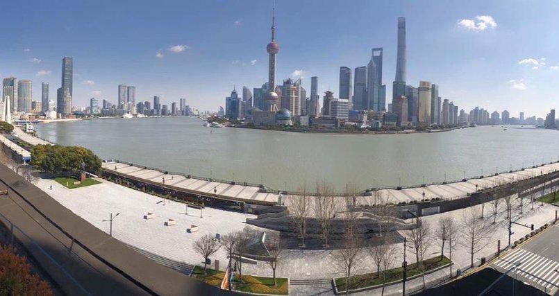 Набережная Шанхая во время карантина