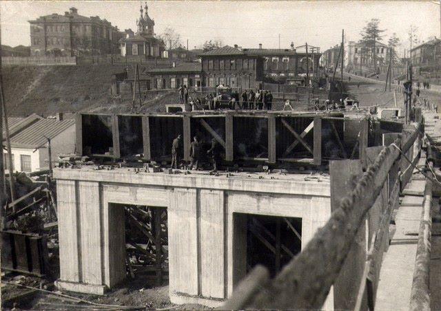 30-е. Строительство моста через Ангару