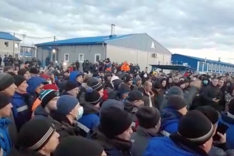 Митинг вахтовиков. Скриншот видео