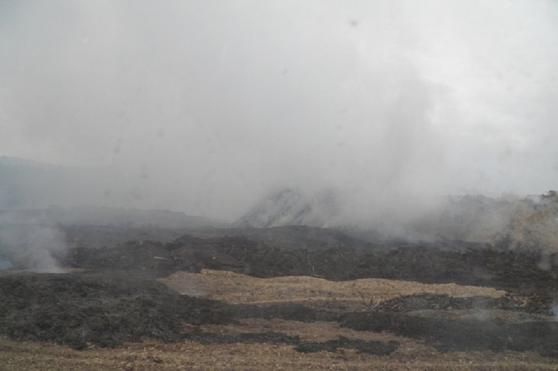 Горящий полигон отходов лесопиления. Фото газеты «Диалог-ТВ»