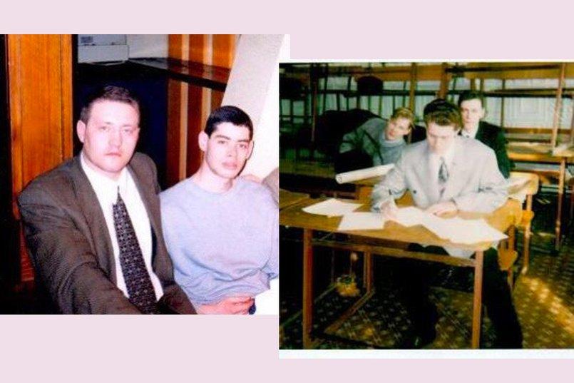 На фото справа Михаил Сигал на защите диплома