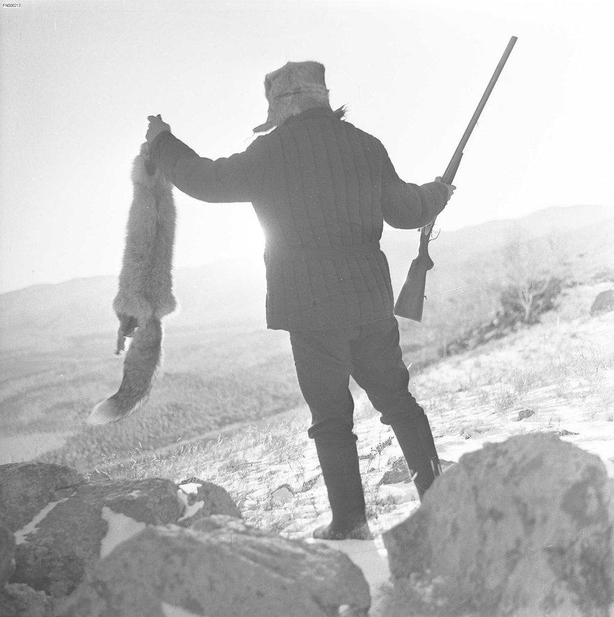 Байкальская тайга. Охотник на лис.  фот. Э. Д. Брюханенко. - 1980.