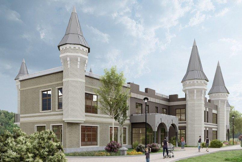 3d визуализация детского сада, который строится в микрорайоне Первомайский