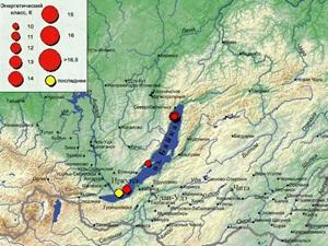 Эпицентр землетрясения на карте Байкальского филиала геофизической службы. Изображение с сайта www.seis-bykl.ru