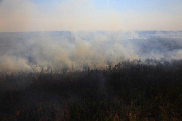 Лесные пожары: вид с вертолета. Фото пресс-службы правительства Иркутской области