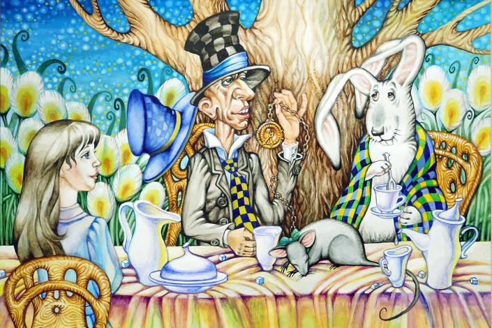 Безумное чаепитие у Шляпника. Иллюстрация к «Алисе в стране чудес»