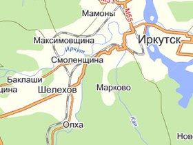 Карта Шелеховского района. Скриншот с maps.yandex.ru.