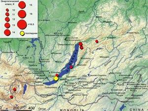 Сейсмокарта Иркутской области. Изображение с сайта Байкальского филиала Геофизической службы.