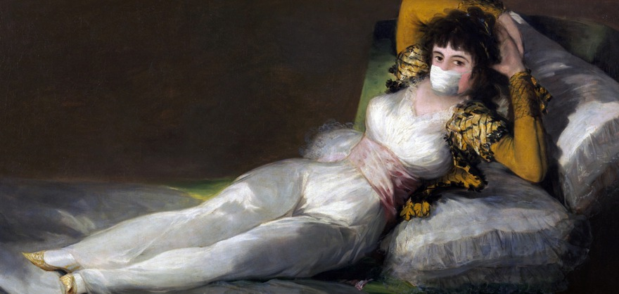 Мем с использованием изображения картины «Маха одетая» испанского художника Франсиско Гойи. Фото с сайта Pixabay.com