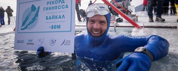 Алексей Молчанов нырнул на глубину в 26 этажей без акваланга