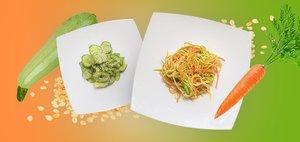 Готовит Наташа: быстрые салаты с цукини и огурцами
