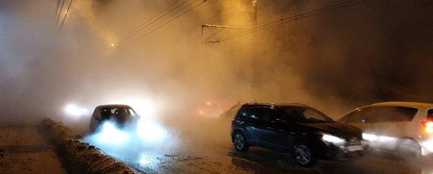 Прорыв трубы возле БЦ «Академический» на Лермонтова