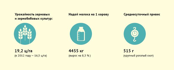 В 2013 году сельхозпроизводители области произвели продукции на 52,9 миллиарда рублей. Рост достигнут в основном за счет повышения урожайности зерновых и зернобобовых культур.