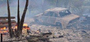 Пожар в поселке Юрты