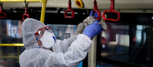 Дезинфекция транспорта в Иркутске против коронавируса